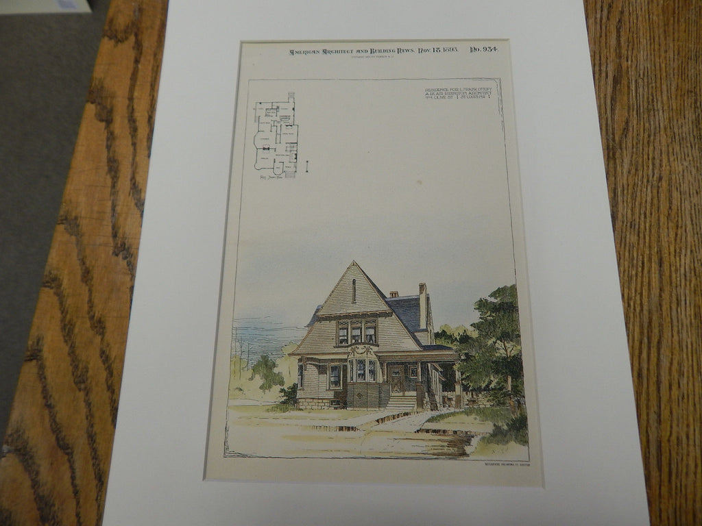 Frank Ottofy Residence, St. Louis, MO 1893. Original Plan. Hand Colored. A. Blair Ridington.