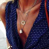 Fashion Multilayer Necklaces & Pendants Vintage Moon Choker Necklace for Women Gold Collier Femme Party Jewelry