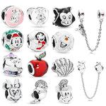 2Pcs/Lot Cute Mickey Charms Fit Pandora Bracelet Bangle Necklace Minnie Charms Beads For Women Lovers Jewelry Making Gift