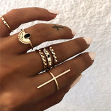 Yobest Bohemian Vintage Gold Crescent Geometric Joint Ring Set for Women Crystal Personality Design Ring Set Party Jewelry Gift