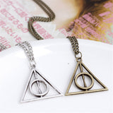 Hallows Pendant Toys Necklace Retro Triangle Round Sweater Chain Necklace Luna and the Deathly Action Toy Figures