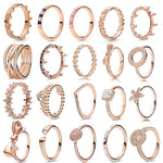 NEW Rose Gold Romantic Bowknot Crown Rings for Women With Clear Crystal Fine Finger Ring Wedding Jewelry Gift Special Offer