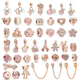 2Pcs/Lot Romantic Crystal FAMILY Love Pendant Charm Beads fit Original Pandora Bracelets for Women DIY Jewelry Making Rose Gold