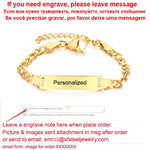 Personalize Baby Name Bracelet Figaro Chain Smooth Bangle Link Gold Tone No Fade Safty Jewelry