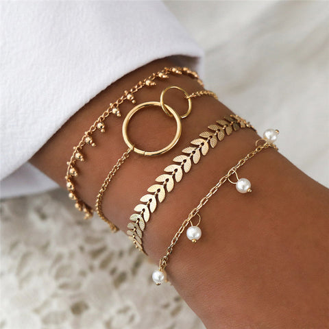 VAGZEB Charm 4 Pcs/set Women's Fashion Crystal Circle Leaf Chain Gold Color Simulated Pearl Bracelet Set Party Wedding Jewelry
