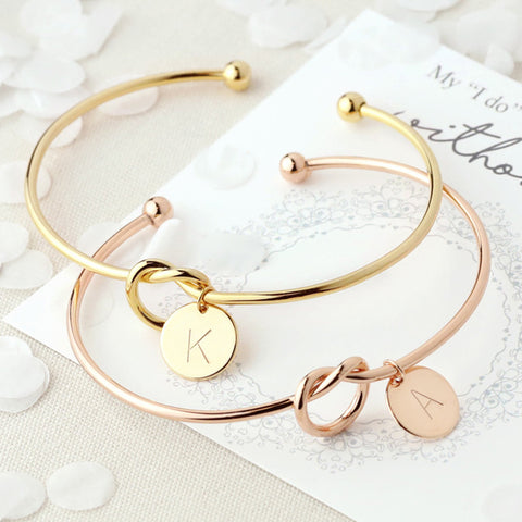 Fashion Name Female Jewelry Initial Alloy Letter Charm Bracelets For Women Girls Rose Gold/Silver Bow-knot Bracelets Bangles