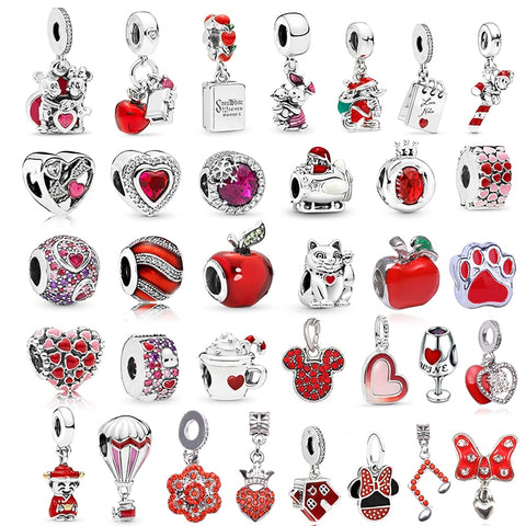 TOGORY 2Pcs/lot Special Red Love Heart Crown Charm Beads Pendant Fits Original Pandora Charms Bracelet Women Jewelry DIY Making