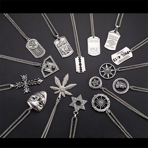Stainless steel Men Hip Hop Necklace Rapper Cross Skull Pendant Long Necklace Silver Chain Sweater Steam Punk Necklaces Rock