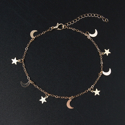New Fashion Gold silver Moon Star Charms bracelet for Women Accessories Bracelets 4g