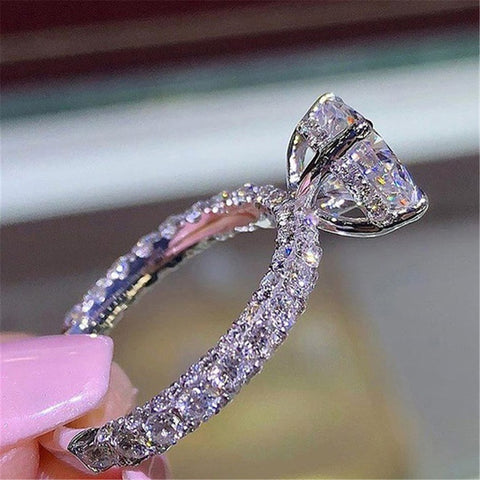 Women Ring Wedding Anniversary Gift Popular Accessories Fashion Design Round Princess Ring Charm Personality Colorful Zircon