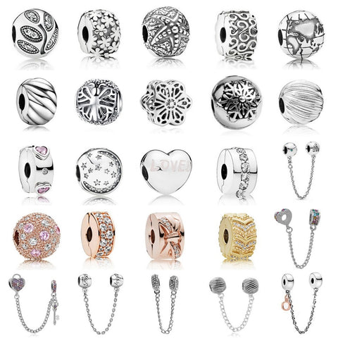 2019 New Bead Charm Heart Key Loveed Flower Safety Chain Rose Gold Stopper Fit Women Pandora Bracelet Bangle DIY Jewelry