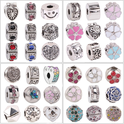 Fit Pandora Charm Bracelet New European 1pc Silver Shinning Path Elegance Spacer Clip Safety DIY Flower Bead