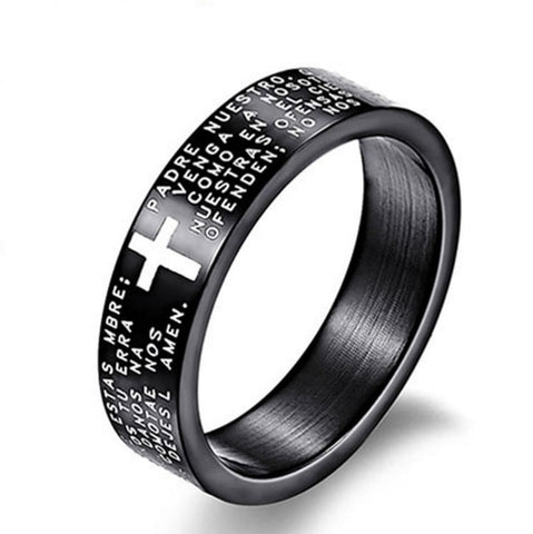 Fashion Scripture Cross Bible Text Jesus Tattoo Men Ring Rings For Women Titanium Steel Jewelry Gift