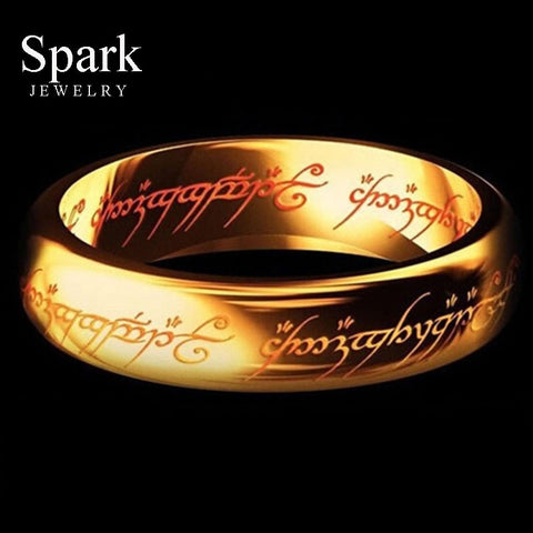 REAL Titanium Steel Hobbit Letter Rings For Men Black Stainless Steel the one ring 6MM