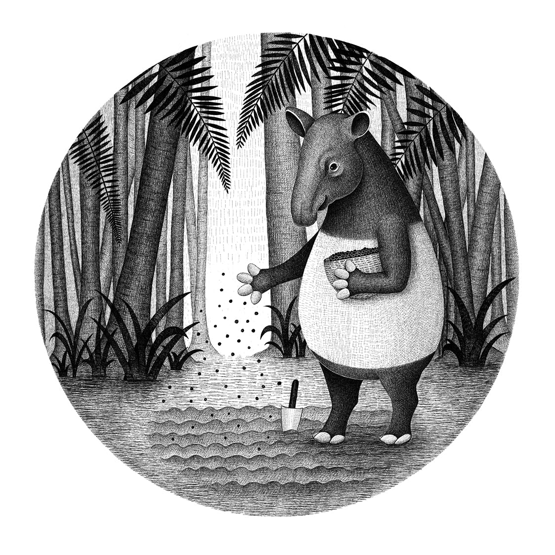 Tapirs are Gardeners of the Forest | Black and White Illustration | Art Prints for Sale | Lucia Eggenhoffer