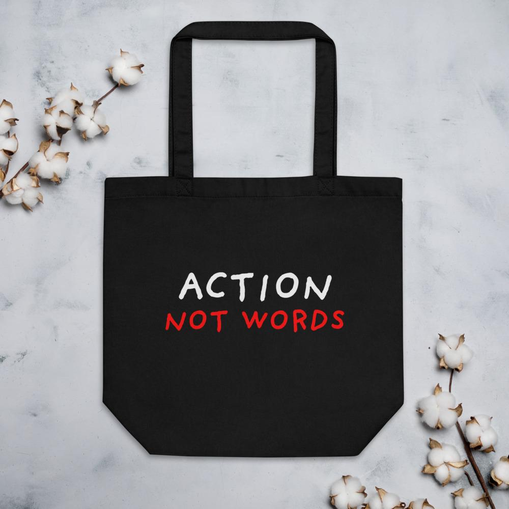 Action not words tote bags for sale from Stop Narcissists Collection | Eggenland