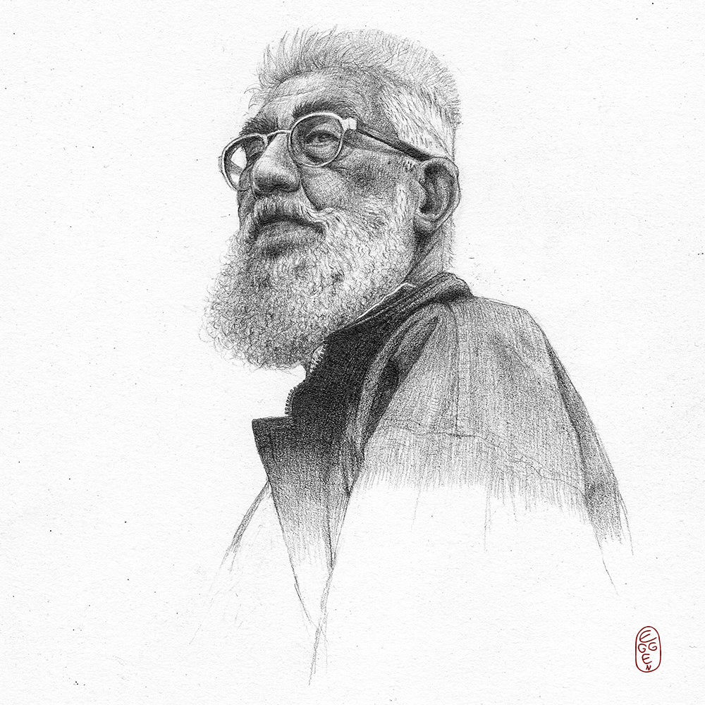 Pencil Portrait of and Old Man Lucia Eggenhoffer