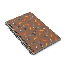 Load image into Gallery viewer, Funky Cats Pattern | Brown | Spiral Notebook 80 pages-80 pages notebook-Eggenland