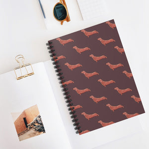 Cute Dachshund Dog | Brown | Lined Spiral Notebook 118 Pages-118 pages notebook-Spiral Notebook-Eggenland