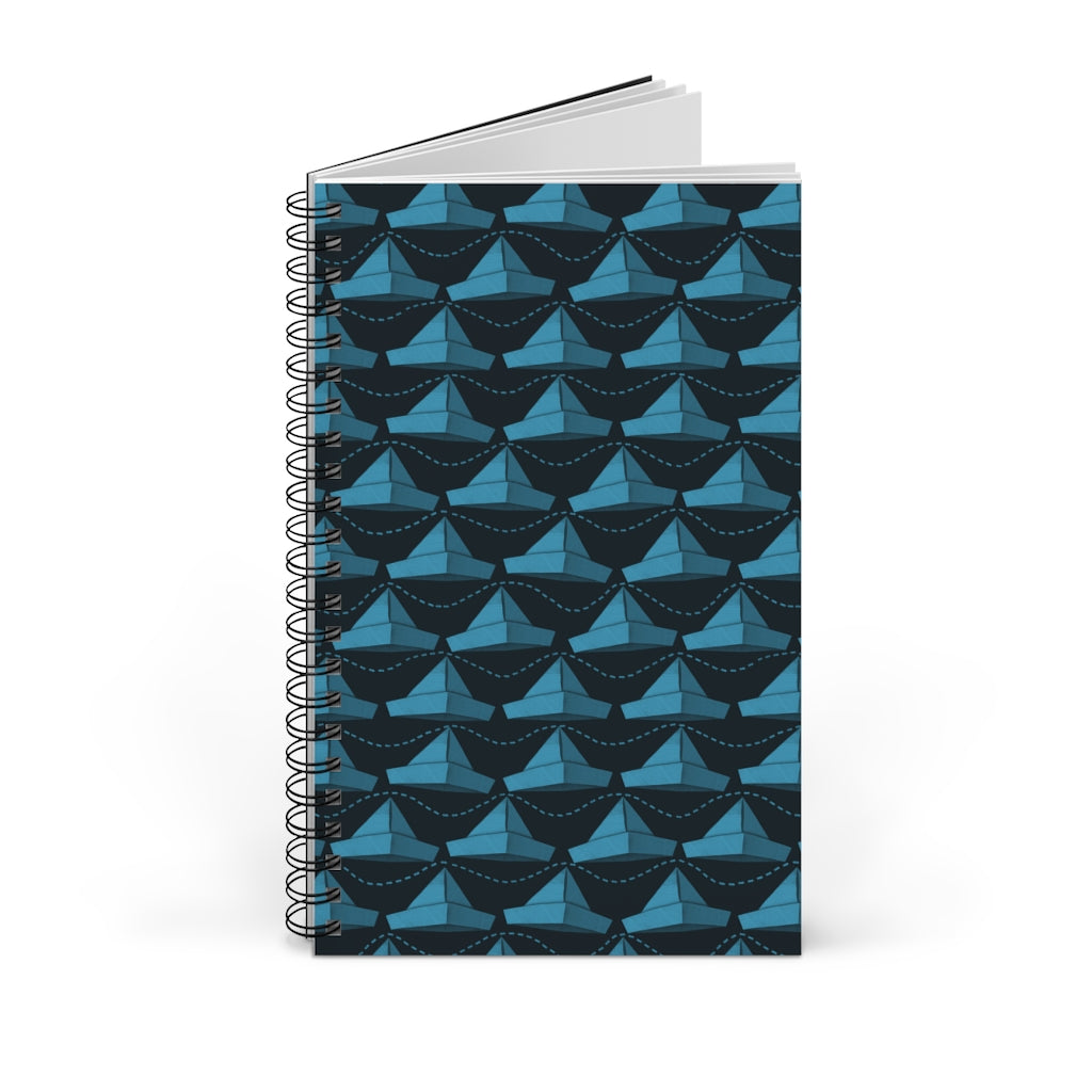 Paper Hats Pattern | Black Blue | Spiral Notebook 80 pages-80 pages notebook-Blank-Spiral Notebook-Eggenland