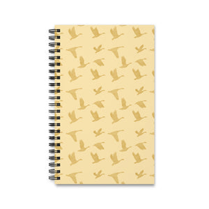 Flying Birds Pattern | Golden | Spiral Notebook 80 pages-80 pages notebook-Eggenland