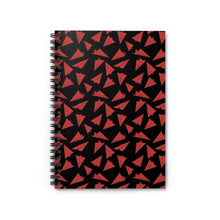 Load image into Gallery viewer, Paper Planes Pattern | Black Red | Lined Spiral Notebook 118 Pages-118 pages notebook-Spiral Notebook-Eggenland