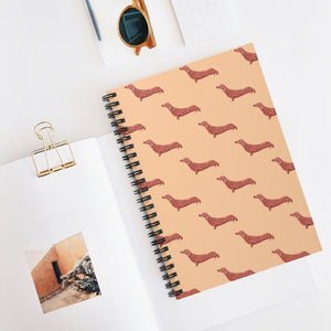 Cute Dachshund Dog | Cream | Lined Spiral Notebook 118 Pages-118 pages notebook-Spiral Notebook-Eggenland