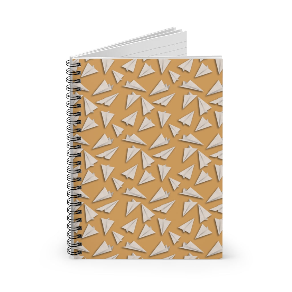 Paper Planes Pattern | Cream | Lined Spiral Notebook 118 Pages-118 pages notebook-Spiral Notebook-Eggenland