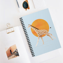 Load image into Gallery viewer, Giraffe and Sun | Blue | Lined Spiral Notebook 118 Pages-118 pages notebook-Spiral Notebook-Eggenland