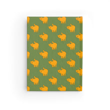 Load image into Gallery viewer, Yellow Cat Pattern | Green | Journal - Blank-journals-Journal-Eggenland