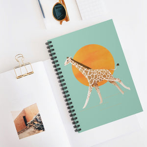 Giraffe and Sun | Green | Lined Spiral Notebook 118 Pages-118 pages notebook-Spiral Notebook-Eggenland