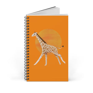 Giraffe and Sun | Orange | Spiral Notebook 80 pages-80 pages notebook-Blank-Spiral Notebook-Eggenland