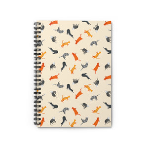 Funky Cats Pattern | Cream | Lined Spiral Notebook 118 Pages-118 pages notebook-Spiral Notebook-Eggenland