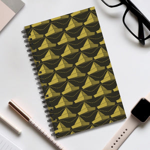 Paper Hats Pattern | Black Yeallow | Spiral Notebook 80 pages-80 pages notebook-Eggenland
