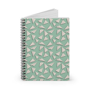 Paper Planes Pattern | Green | Lined Spiral Notebook 118 Pages-118 pages notebook-Spiral Notebook-Eggenland