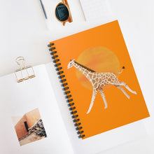 Load image into Gallery viewer, Giraffe and Sun | Orange | Lined Spiral Notebook 118 Pages-118 pages notebook-Spiral Notebook-Eggenland
