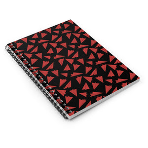 Paper Planes Pattern | Black Red | Lined Spiral Notebook 118 Pages-118 pages notebook-Spiral Notebook-Eggenland