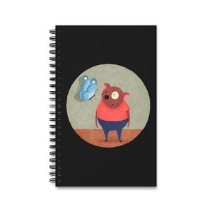 Bear and Butterfly | Black | Spiral Notebook 80 pages-80 pages notebook-Eggenland
