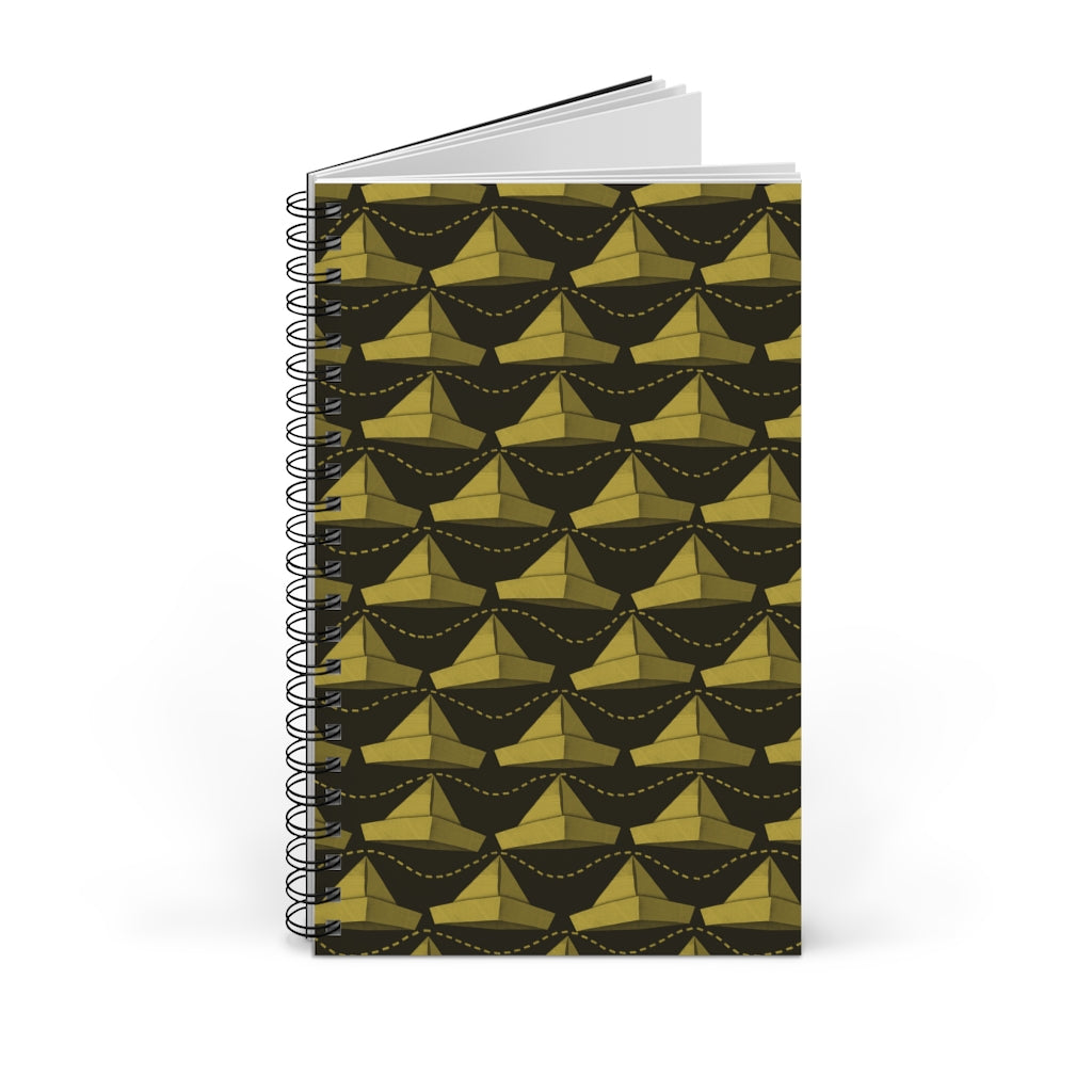 Paper Hats Pattern | Black Yeallow | Spiral Notebook 80 pages-80 pages notebook-Blank-Spiral Notebook-Eggenland