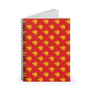 Yellow Cat Pattern | Red | Lined Spiral Notebook 118 Pages-118 pages notebook-Spiral Notebook-Eggenland