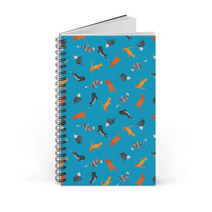 Funky Cats Pattern | Blue | Spiral Notebook 80 pages-80 pages notebook-Blank-Spiral Notebook-Eggenland