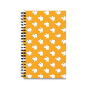 Cute Cat Pattern | Yellow | Spiral Notebook 80 pages-80 pages notebook-Eggenland