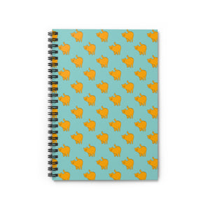 Yellow Cat Pattern | Blue | Lined Spiral Notebook 118 Pages-118 pages notebook-Spiral Notebook-Eggenland