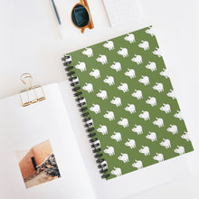 Load image into Gallery viewer, Cute Cat Pattern | Green | Lined Spiral Notebook 118 Pages-118 pages notebook-Spiral Notebook-Eggenland