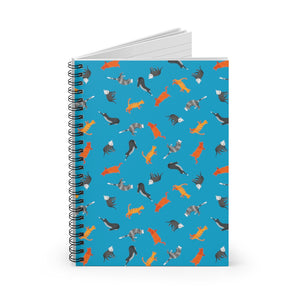 Funky Cats Pattern | Blue | Lined Spiral Notebook 118 Pages-118 pages notebook-Spiral Notebook-Eggenland
