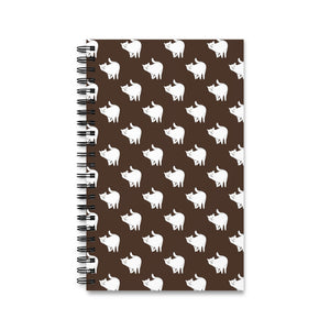 Cute Cat Pattern | Brown | Spiral Notebook 80 pages-80 pages notebook-Eggenland