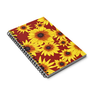 Blooming Flowers | Red | Spiral Notebook 80 pages-80 pages notebook-Eggenland