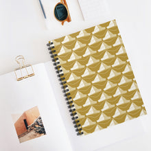 Load image into Gallery viewer, Paper Hats Pattern | Golden | Lined Spiral Notebook 118 Pages-118 pages notebook-Spiral Notebook-Eggenland