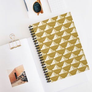 Paper Hats Pattern | Golden | Lined Spiral Notebook 118 Pages-118 pages notebook-Spiral Notebook-Eggenland