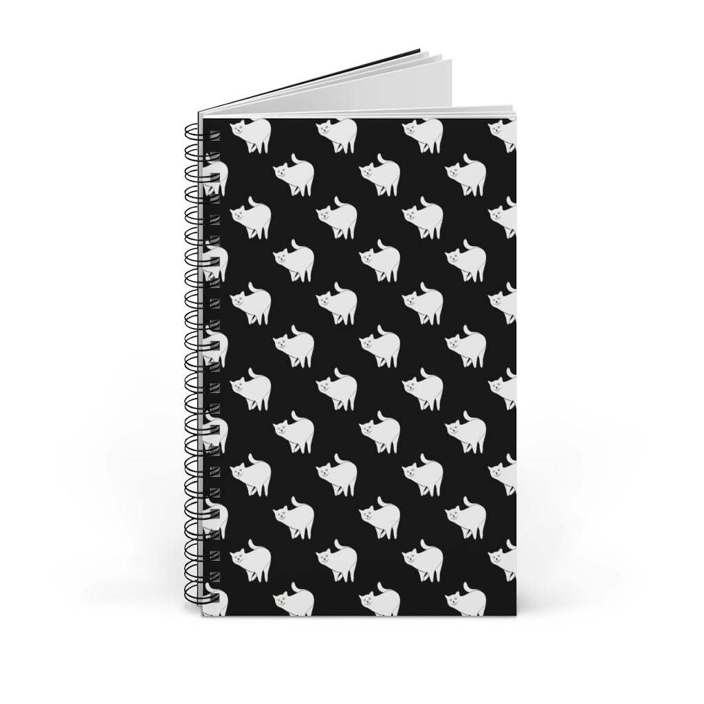 Cute Cat Pattern | Black and White | Spiral Notebook 80 pages-80 pages notebook-Blank-Spiral Notebook-Eggenland